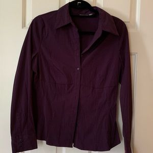 Stretch material purple button down blouse